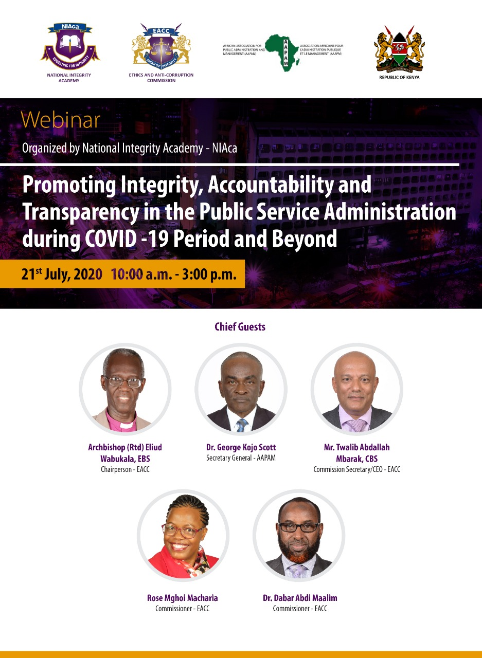 Webinar – Promoting Integrity, Accountability and Transparency in the Public Service Administration during Covid-19 Period and Beyond