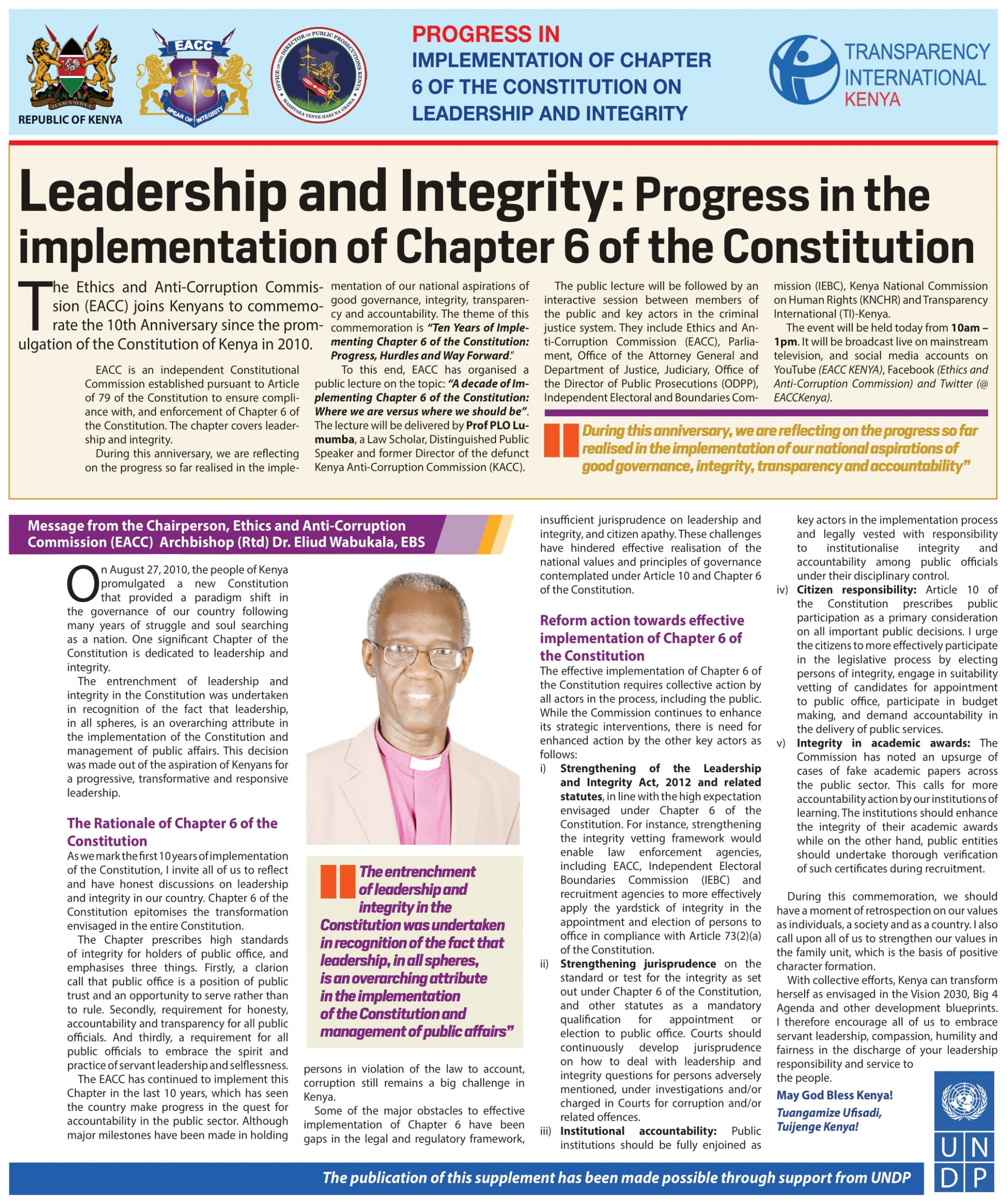 Newspaper Supplement: Progress in Implementation of Chapter 6 of the Constitution on Leadership and Integrity